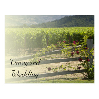 Vineyard and Rose Fence Wedding Save the Date Post Cards
