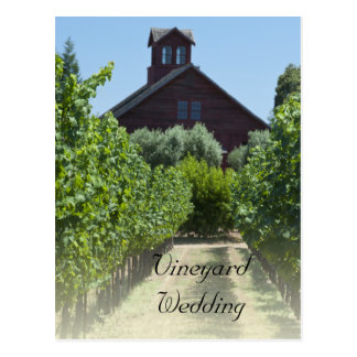 Vineyard and Rustic Barn Wedding Save the Date Postcard