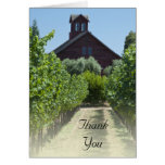 Vineyard and Rustic Red Barn Thank You Card