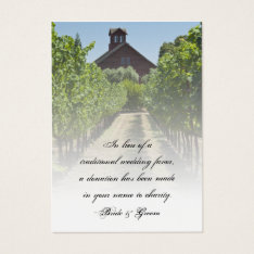 Vineyard And Rustic Red Barn Wedding Charity Favor Business Card at Zazzle