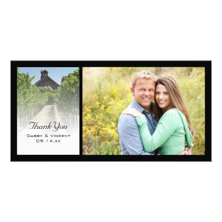 Vineyard and Rustic Red Barn Wedding Thank You Card