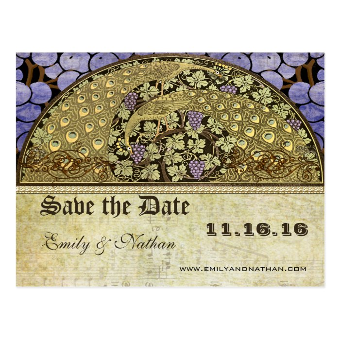 vineyard art nouveau peacock birds save the date postcard zazzle. Black Bedroom Furniture Sets. Home Design Ideas