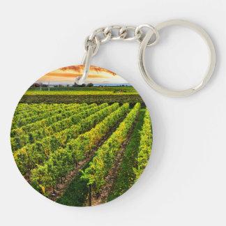 Vineyard at sunset keychain