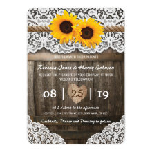 Vineyard Barrel Wedding Card | Rustic Sunflower Invitations