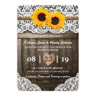 Vineyard Barrel Wedding Card | Rustic Sunflower