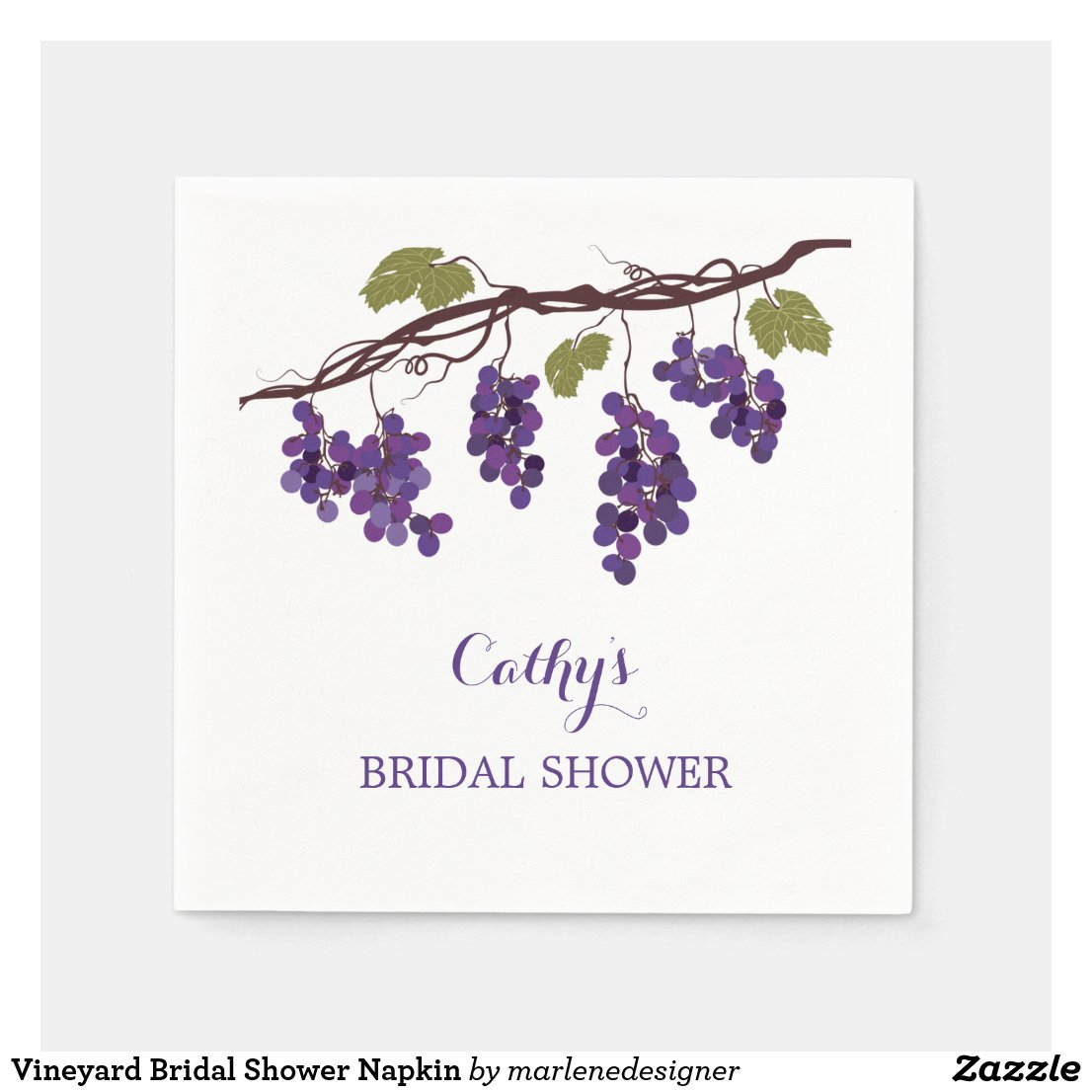 Vineyard Bridal Shower Napkin