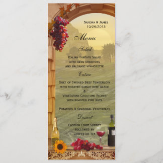 Vineyard Fall Wedding or Thanksgiving Dinner Menu