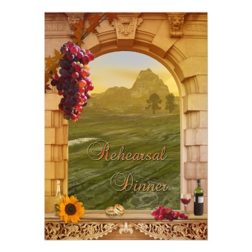 Vineyard Fall Wedding Rehearsal Dinner Invitation