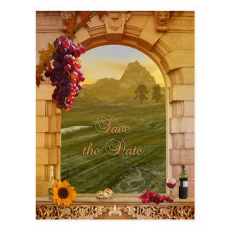 Vineyard Fall Wedding Save the Date Postcard