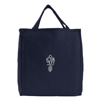 Vineyard grapes green embroidered monogram tote