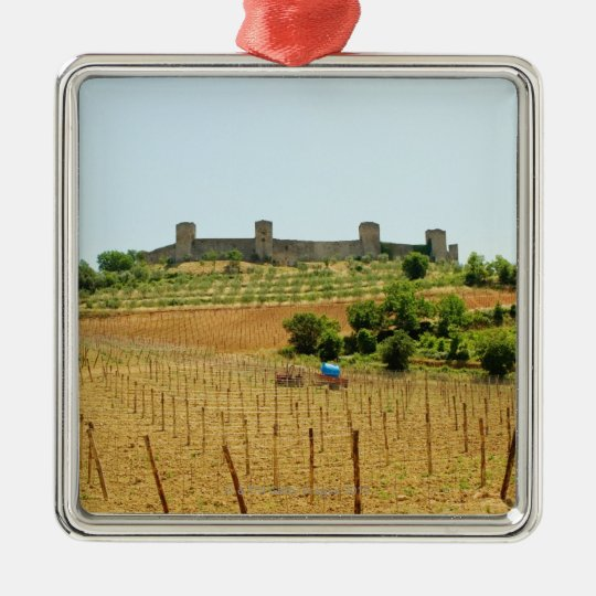 Vineyard in front of a fort, Monteriggioni, Metal Ornament