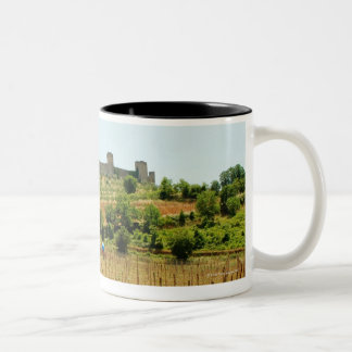 Vineyard in front of a fort, Monteriggioni, Two-Tone Coffee Mug