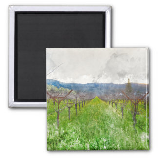 Vineyard in Napa Valley California 2 Inch Square Magnet