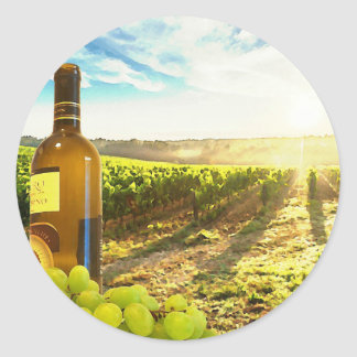 Vineyard Landscape Wine and Grapes Classic Round Sticker