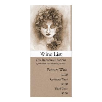 Vineyard Nymph Wine List Rack Card