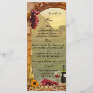 Vineyard or Wine Themed Menu Card
