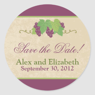 Vineyard Save-the-Date Sticker (Parchment Texture)