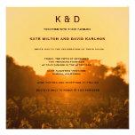 Vineyard Sunset Winery Monogram Wedding Invitation Personalized Invitation
