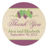 Vineyard Thank You Sticker (Parchment Texture)
