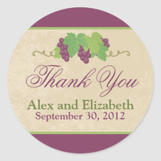 Vineyard Thank You Sticker (Parchment Texture)