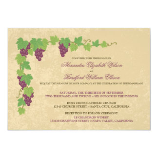 "Vineyard Wedding Invitation (Parchment Texture) 5"" X 7"" Invitation Card"