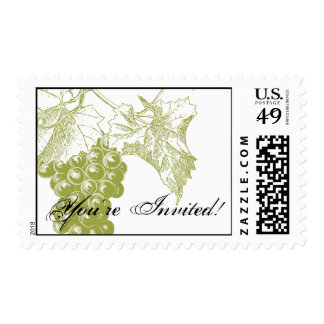 Vineyard Wedding Postage in green
