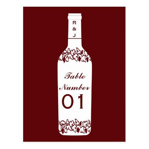 Vineyard Wedding Table Numbers Post Cards