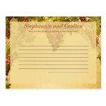 Vineyard Wedding Writable Advice Card Postcards
