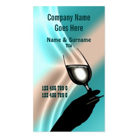 Aqua Blue and White with Black Silhouette of a Hand Holding a Wine Glass Posh Ritzy Bar Business Cards