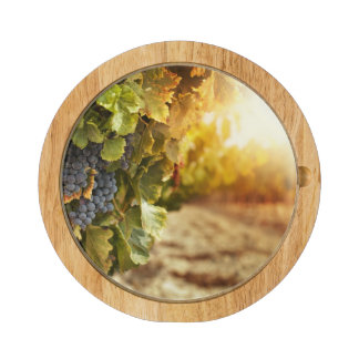 Vineyards At Sunset Round Cheese Board