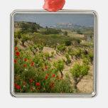 Vineyards near Laguardia, capital of La Rioja Square Metal Christmas Ornament
