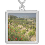 Vineyards near Laguardia, capital of La Rioja Square Pendant Necklace
