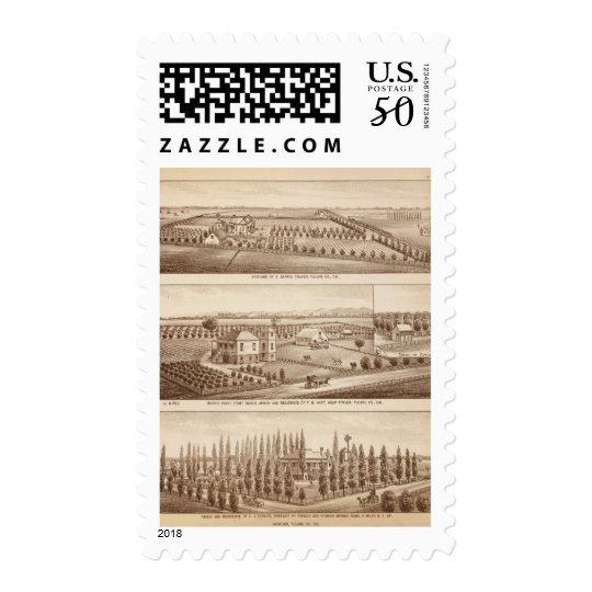 Vineyards, ranches, Tulare Co, Calif Postage