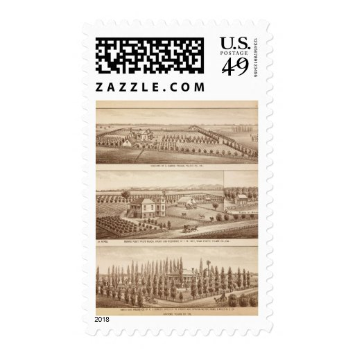 Vineyards, ranches, Tulare Co, Calif Stamp