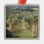 Vineyards, Tuscany, Italy Square Metal Christmas Ornament