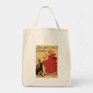 Vingeanne Milk Girl with Cats Grocery Tote Bag