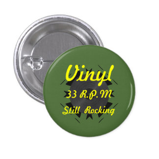 Vinilo 33 RPM todavía que oscila 3 verdes/amarillo Pin Redondo De 1 Pulgada