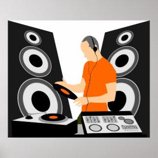 Vinilo de giro de DJ en las cubiertas Poster