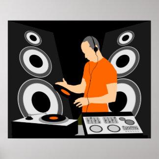 Vinilo de giro de DJ en las cubiertas Póster