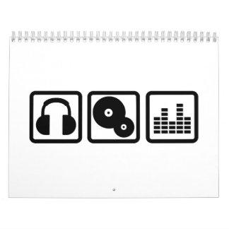 Vinilo de los auriculares del equalizador de DJ Calendario