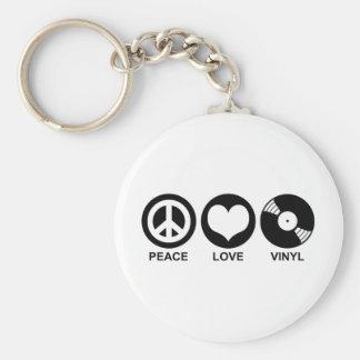 Vinilo del amor de la paz llaveros