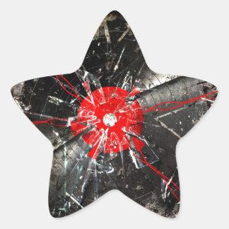 vinilo quebrado pegatina en forma de estrella