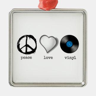 Vinilo retro del amor de la paz 70s adorno navideño cuadrado de metal
