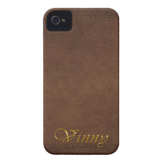 VINNY Custom Leather-look Cell Phone Case iPhone 4 Cases