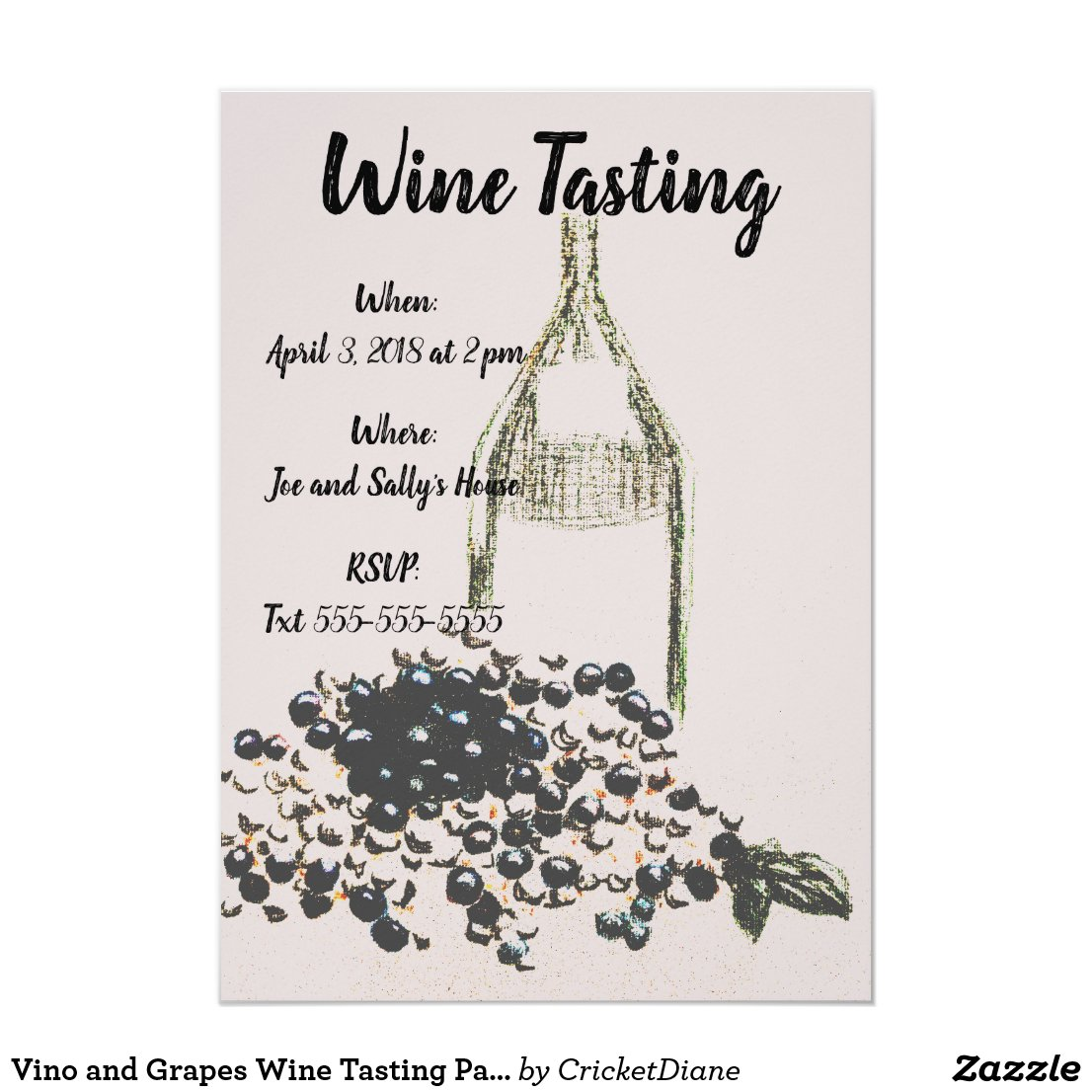 Vino and Grapes Wine Tasting Party Invites