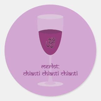Vino de Chianti del Merlot (OM Shanti) y amante de Etiquetas Redondas