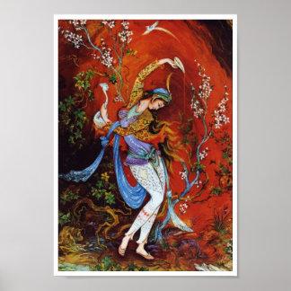 Vino de colada de pintura del chica persa del jarr póster