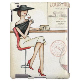 Vino de consumición de la mujer de moda funda para iPad