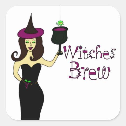 """Vino de Halloween Brew de las brujas"""" de la bruja Pegatina Cuadrada"""