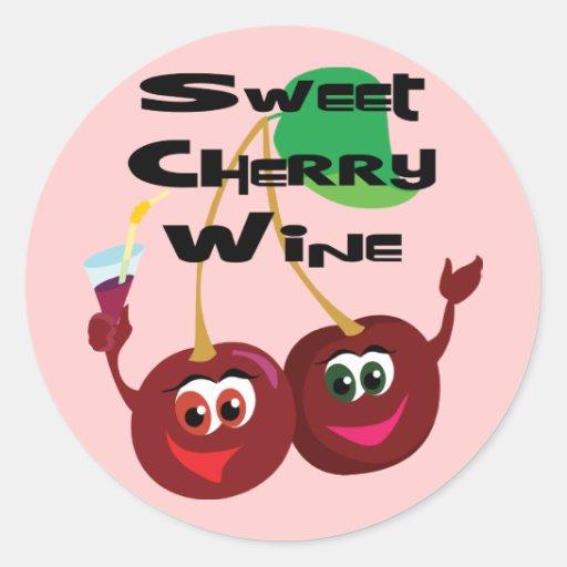 Vino de la cereza dulce pegatina redonda